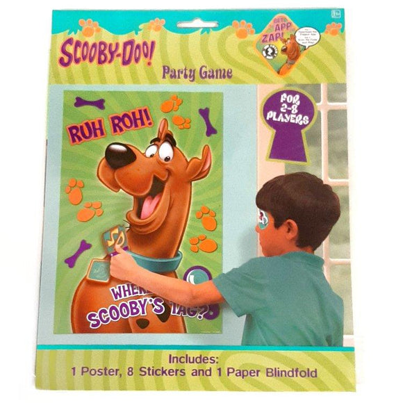 This Scooby Doo game contains 1 poster, 8 stickers and 1 paper blindfold.  For 2-8 players.  Perfect for a Scooby Doo themed party!