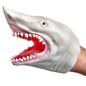 Shark adult and child Rubber Hand Puppet Blue