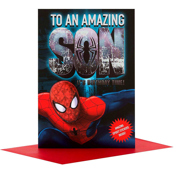 To An Amazing Son Hallmark Spiderman Birthday Greeting Card