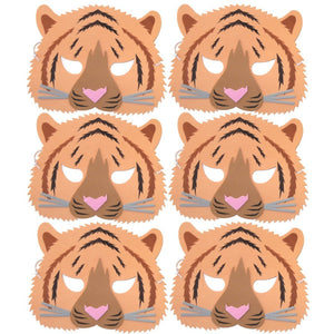 6 foam Tger Children's face masks ideal for schools, parties, groups and theaters