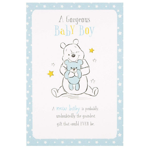 Winnie the Pooh New Baby Boy Greetings Card