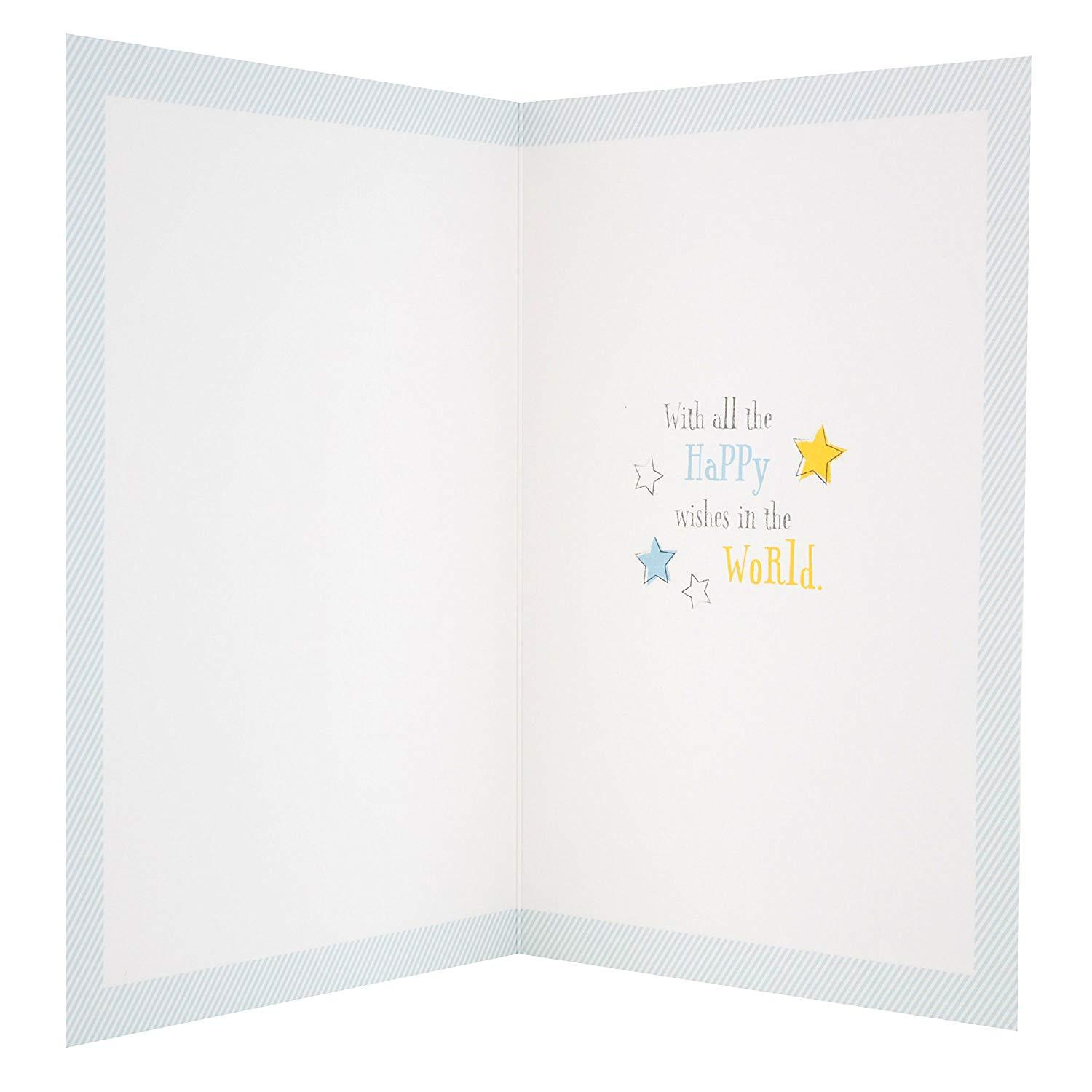 Winnie The Pooh New Baby Boy Greetings Card Blue Frog Toys