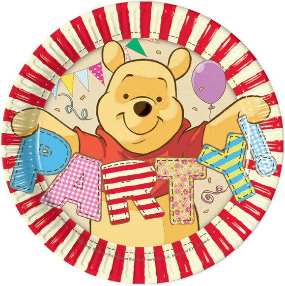 A Pack of 8 Winnie the Pooh Paper Plates  Each plate measures 19.5 cm   Great for a Winnie the Pooh Party or Celebration