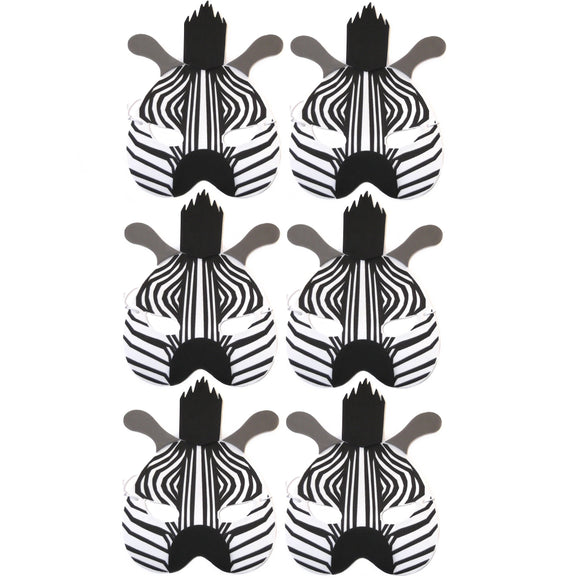 6 Zebra Children's Foam Masks ideal for schools, parties, theaters and groups