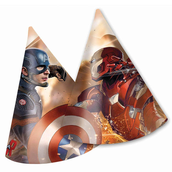 Marvel Avengers Captain America pack of 32 Cone Party Hats