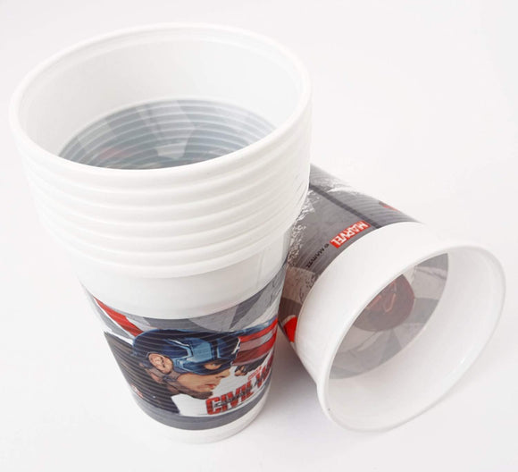 Marvel Captain America Civil War Pack of 8 Disposable Cups