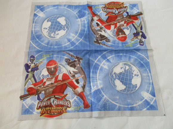 Pack of 40 Power Rangers Party Napkins - 33 x 33 cm 2ply Napkin