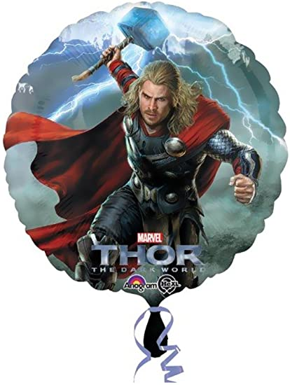 A Thor Round Foil Balloon  Marvel Party Balloons  Measures 17