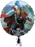 "A Thor Round Foil Balloon  Marvel Party Balloons  Measures 17"" or 43 cm when inflated  Requires Helium (not supplied) Air can also be used."