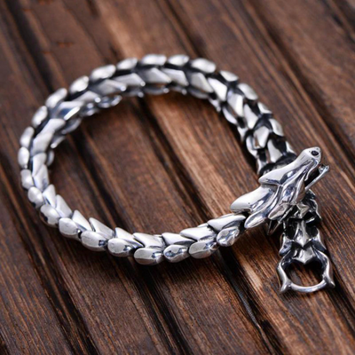 Heavy Dragon Scale Bracelet 925 Silver Men Vintage Bracelet