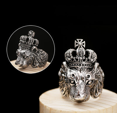 Real 925 Sterling Silver Crown Lion King Vintage Ring
