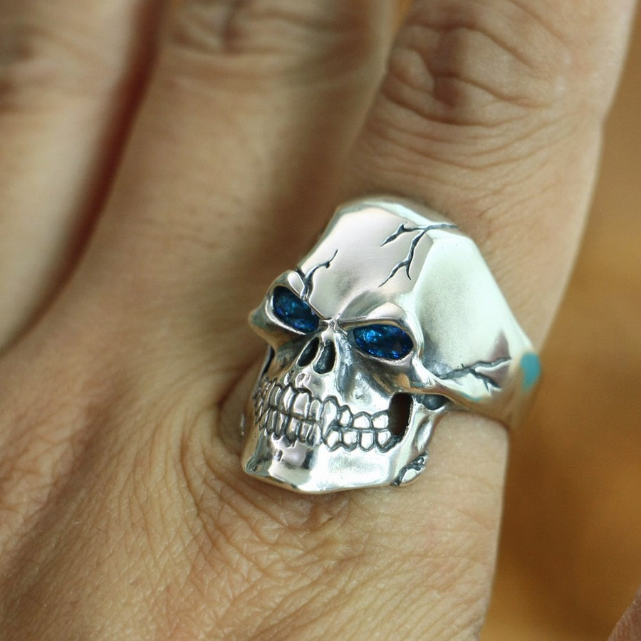Skull Ring CZ Eyes 925 Sterling Silver Men Punk Jewelry