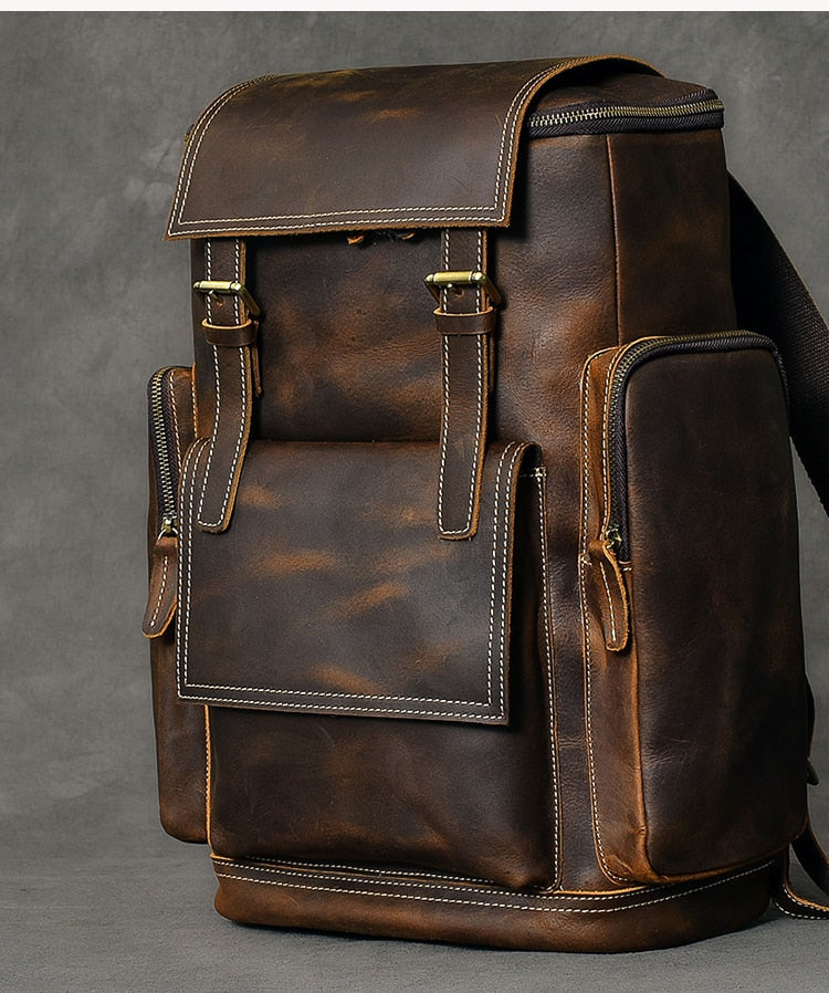 Genuine Leather Men Laptop Bags Large Leather Travel Backpacks
