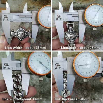 Lion Bracelet Chain 925 Sterling Silver Men Biker Bracelet