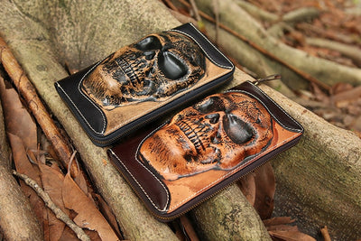 Multi Functional Handbag Genuine Leather Skull Wallet