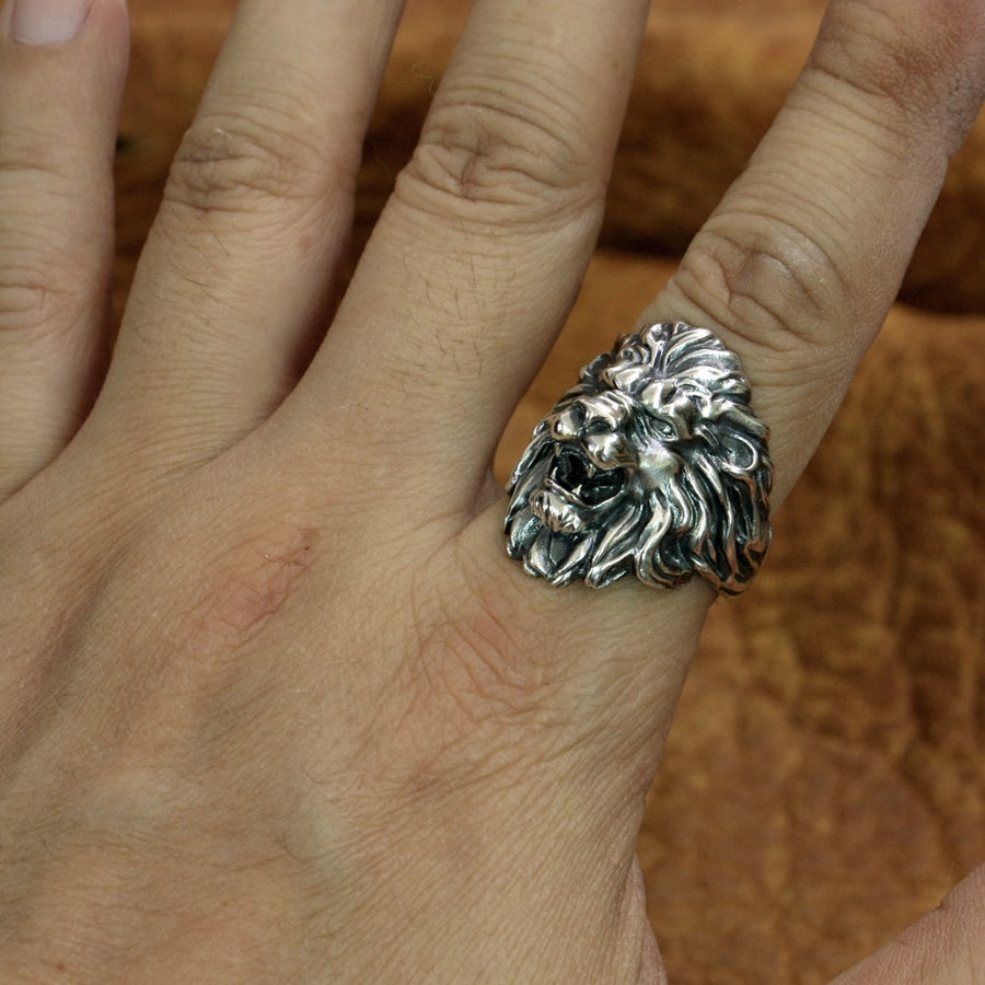 King Lion Ring 925 Sterling Silver Men Biker Ring