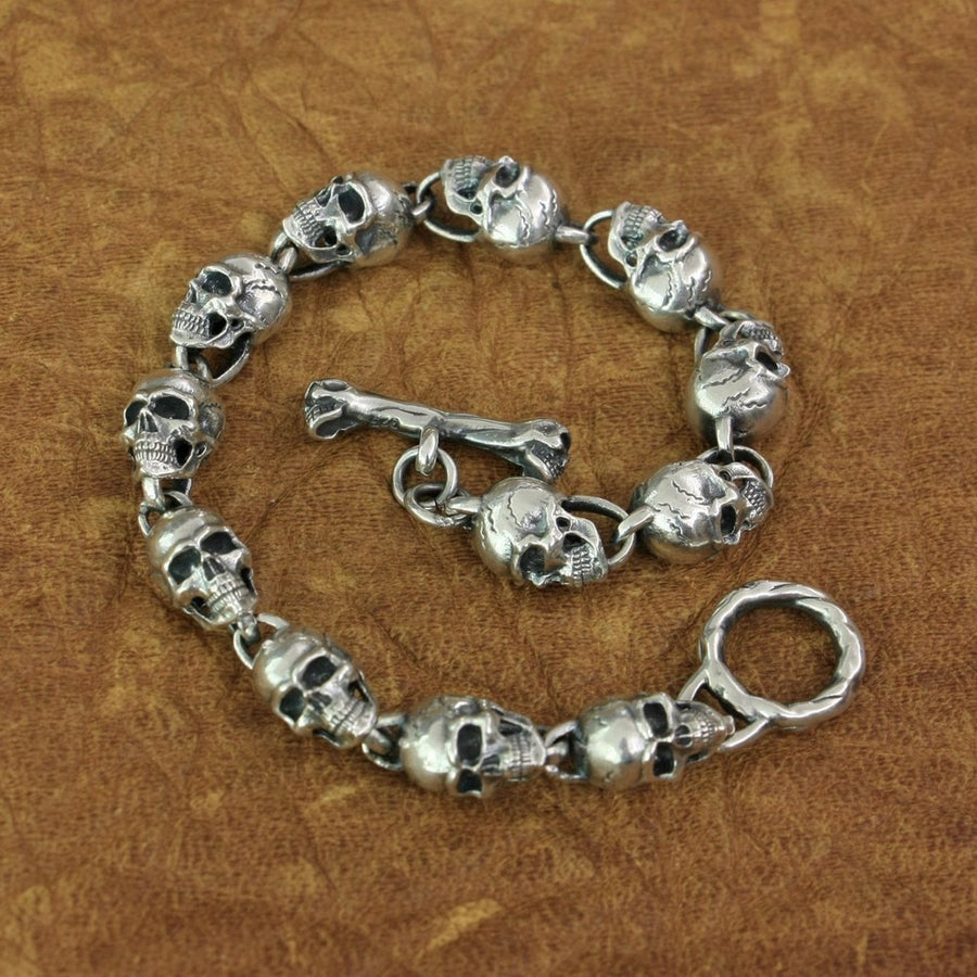 Skeleton Skull Bracelet Chain 925 Sterling Silver Punk