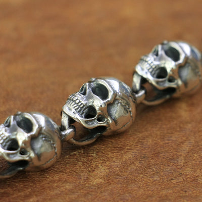 Huge Skulls Necklace Skeleton Chain 925 Sterling Silver Men Punk Rock Jewelry
