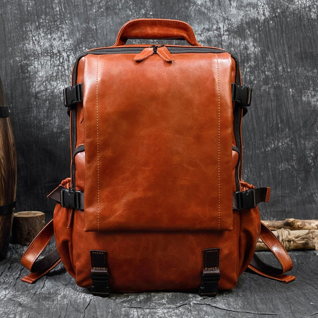 Fashion Genuine Leather Backpack Travel Backpacks Men School Bag