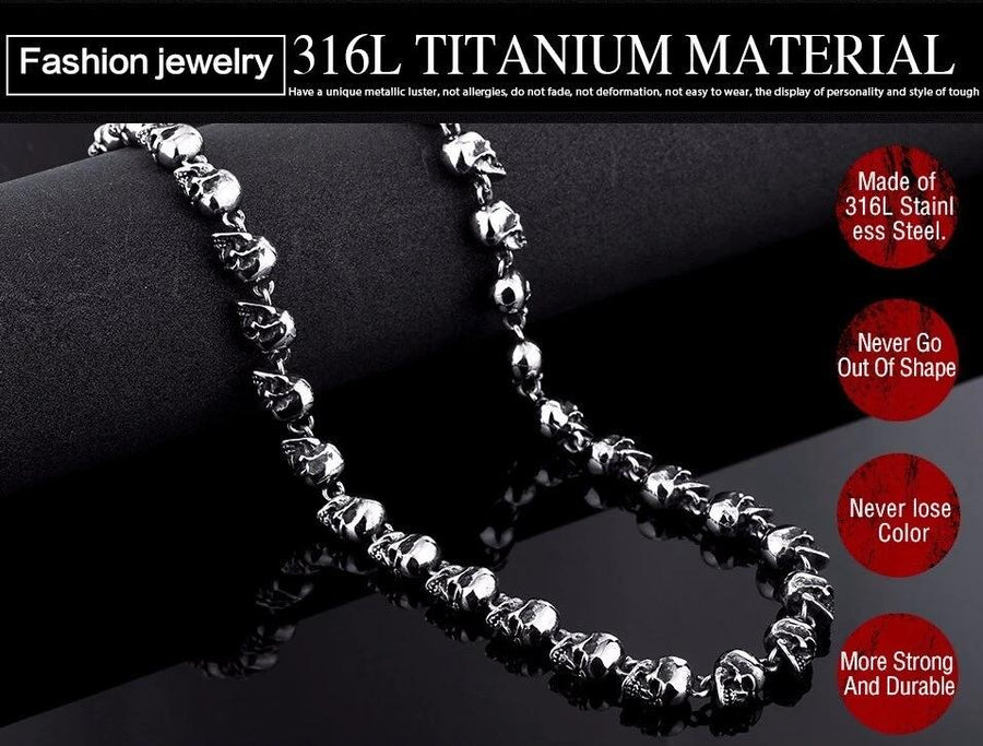 Stainless Steel Skull Necklace Chain Long High Quality