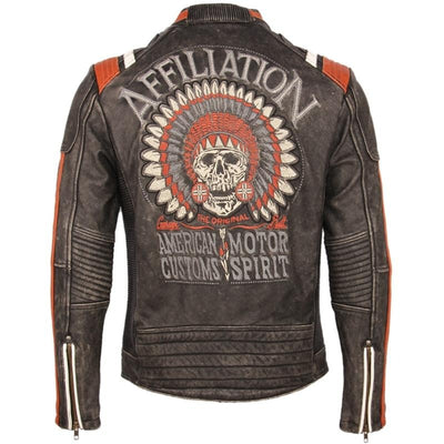 Embroidery Skull Jackets Men Motorcycle Genuine Leather Winter Clothing Biker