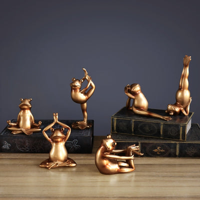 Yoga Frogs Statues Miniature Home Decoration Figurines Accessories Modern Living Room