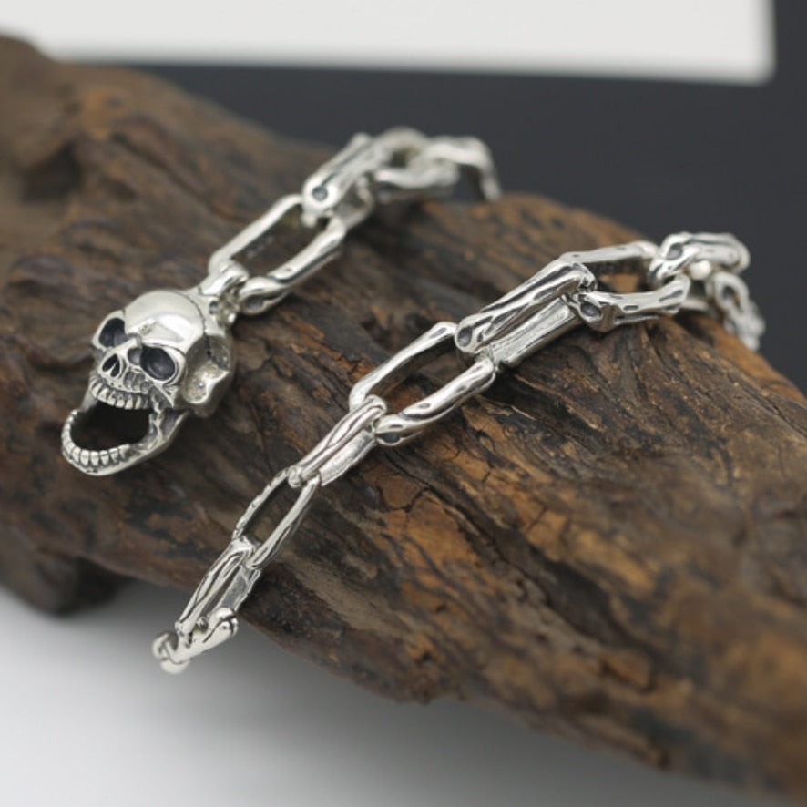 Buckle Skull Bracelet Pure 925 Silver Sterling Jewelry Retro Men Punk Rock