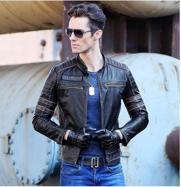 Skull Jackets Men Genuine Leather Vintage Coat Motorcycle Leather