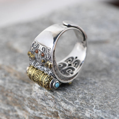 Tibetan Prayer Wheel Ring Buddhist 925 Sterling Silver Vintage Ring