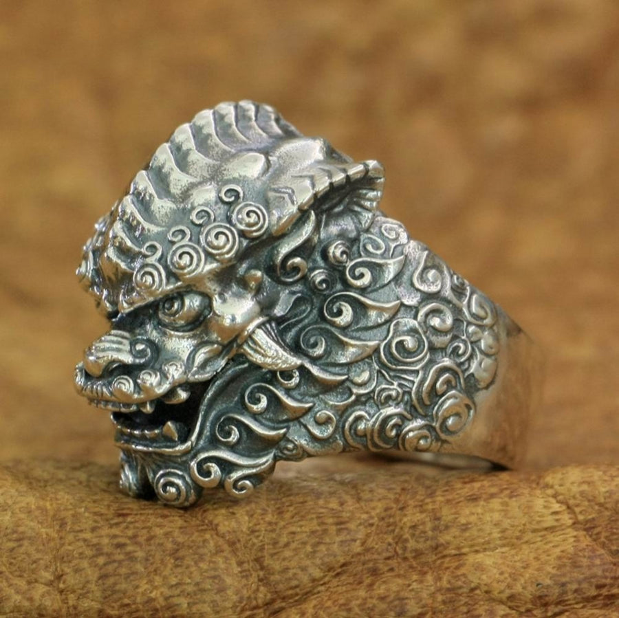 Lion Ring Stone Style 925 Sterling Silver Men Punk Jewelry Biker Ring