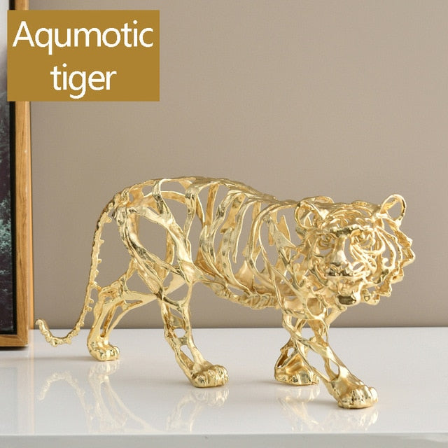 Simulation Metal Animal Tiger Lion Leopard Statues Home Decor Shelf Ornaments Sculptures