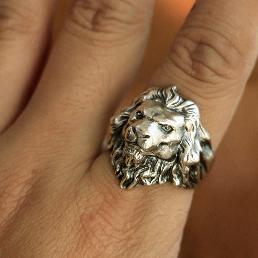 King of Lion Ring High Details 925 Sterling Silver Men Punk Gothic Biker Ring