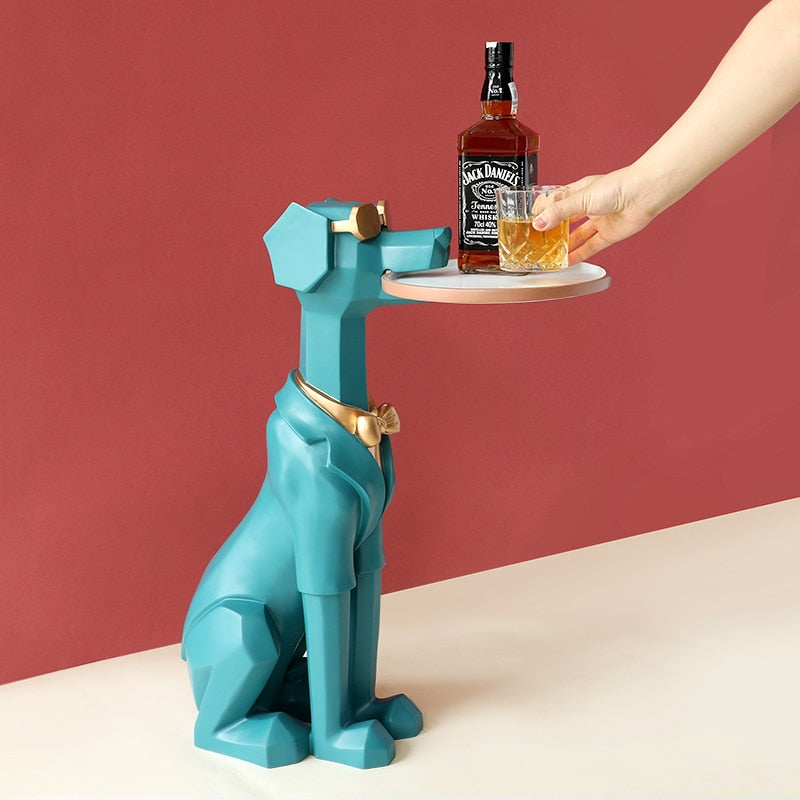 Cute Dog Sculpture With Tray Holder Home Decor Sculpture Modern Art Statue Living Room