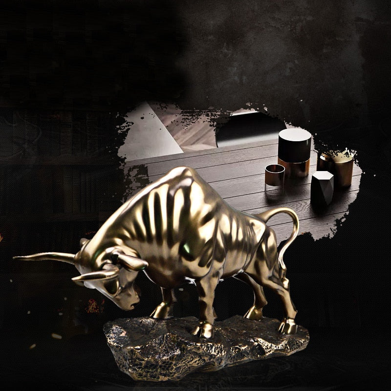 Bull Statues Golden Home Decoration Gift Office Decoration Craft Ornament Sculpture