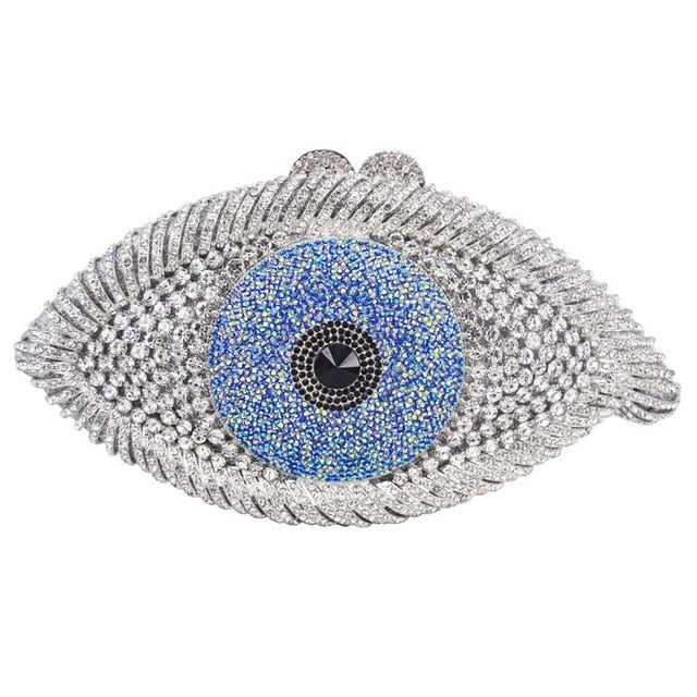 Eye Evil Punk Crystal Purse Women Evening Bag Lady Party Clutch Bag Handbag