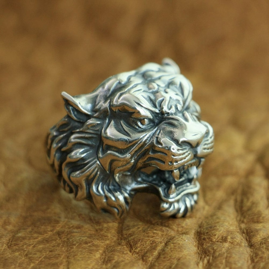 925 Sterling Silver High Details Tiger Ring Men Biker Ring