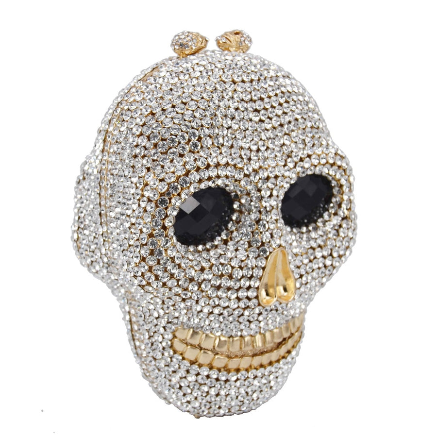 Skull Clutch Bags Women Evening Wedding Bag Handbag Crystal Chain