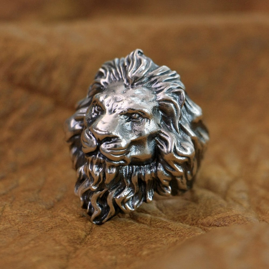 Huge King of Lion Ring 925 Sterling Silver Men Biker Ring