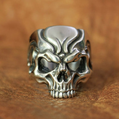 Hollow Angry Skull Ring 925 Sterling Silver Punk Gothic