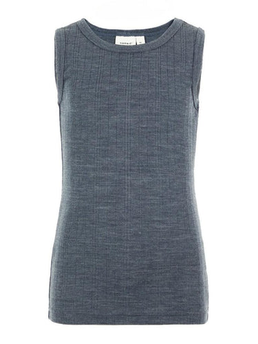 NMMWANG WOOL NEEDLE TANK TOP XIX - Ombre Blue SOLID - 13161188