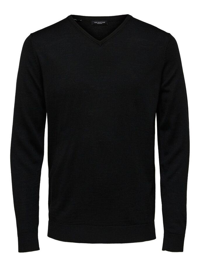 TOWER MERINO V-NECK SORT