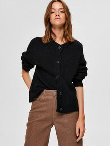 Lulu LS knit kort cardigan sort