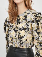 Power 7/8 bluse blomstrete sort