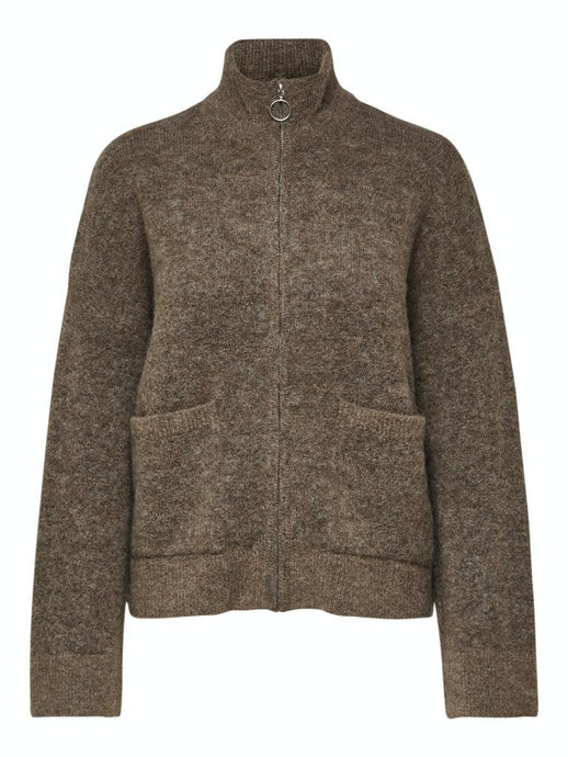 Sia knit zip cardigan brun