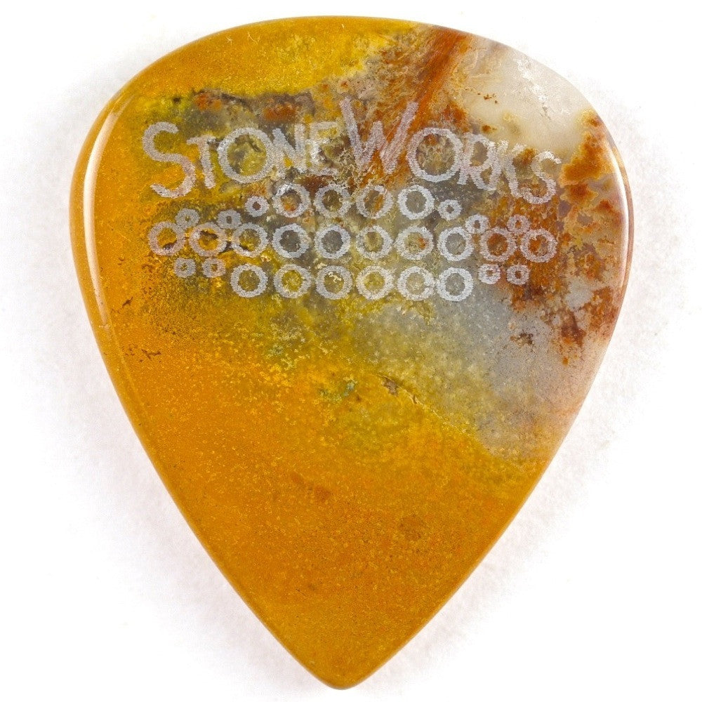 Yellow Moss Agate - Stone Guitar Pick