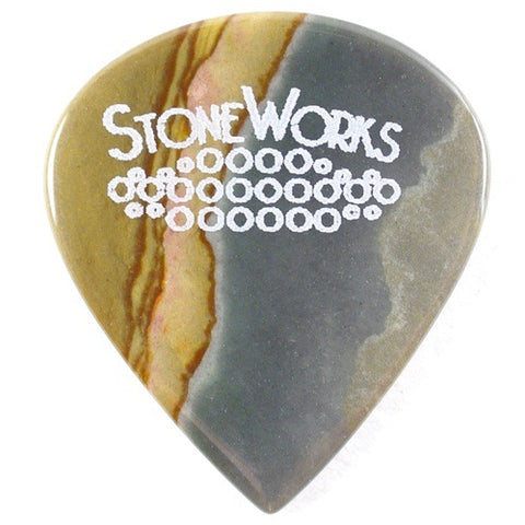 Madagascar Landscape Jasper - Jazz Guitar Pick - Thin