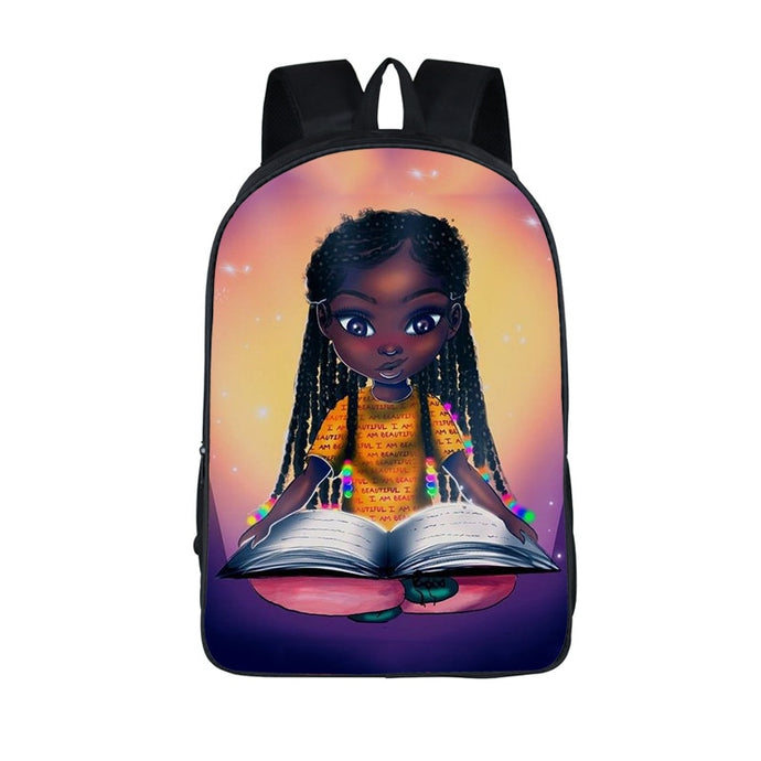 African Brown Girls Backpack For Teenager