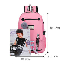 Load image into Gallery viewer, Pink Canvas Backpack Women School Bags for Teenage Girls