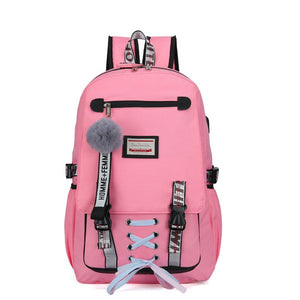 Pink Canvas Backpack Women School Bags for Teenage Girls