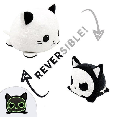 Peluche Réversible Chat Blanc Brillant